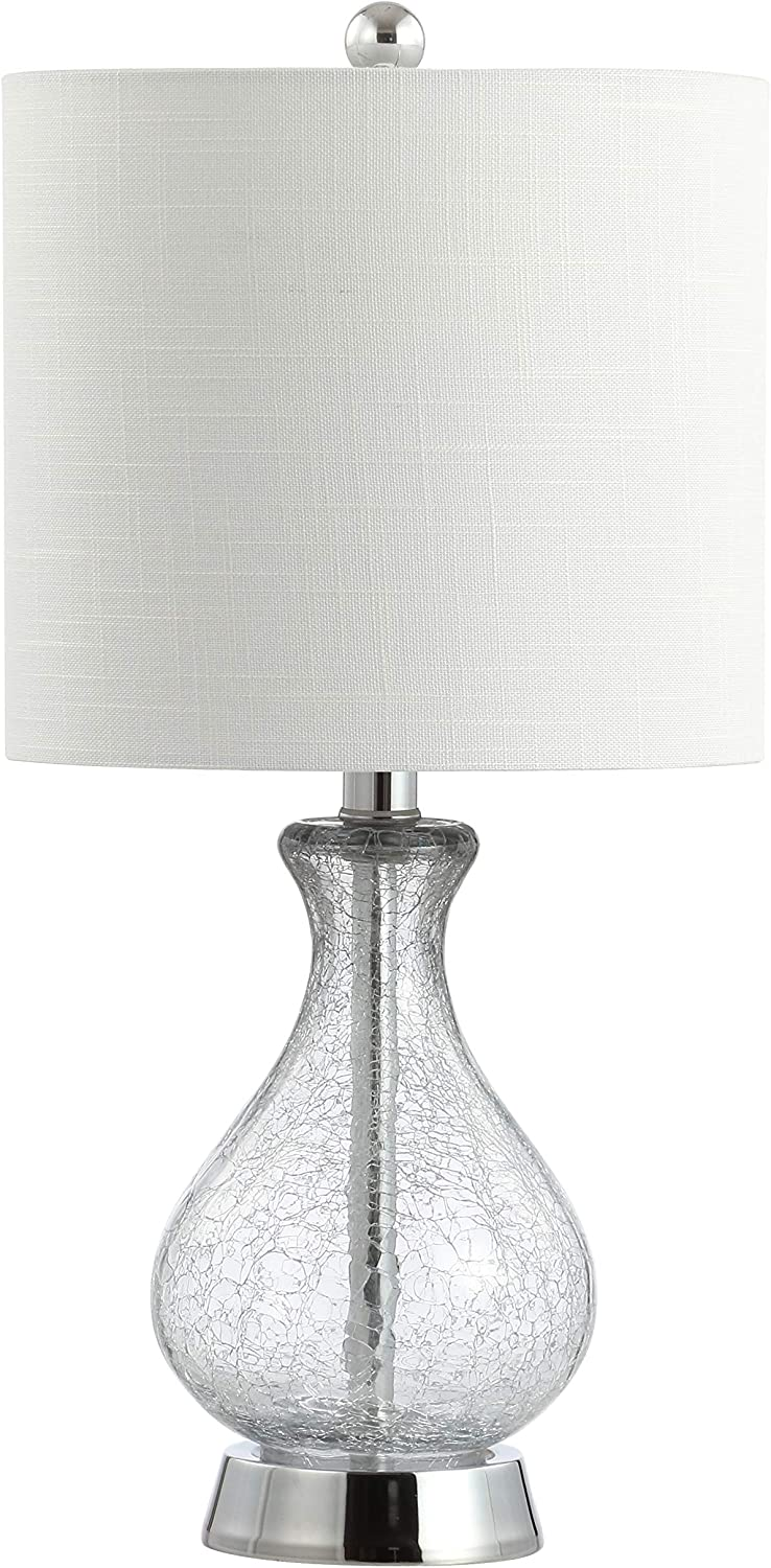 """JONATHAN Y JYL4035A Playa 21"""" Metal/Bubble Glass LED Lamp Contemporary,Transitional for Bedroom, Living Room, Office, College Dorm, Coffee Table, Bookcase, Clear/Chrome"""