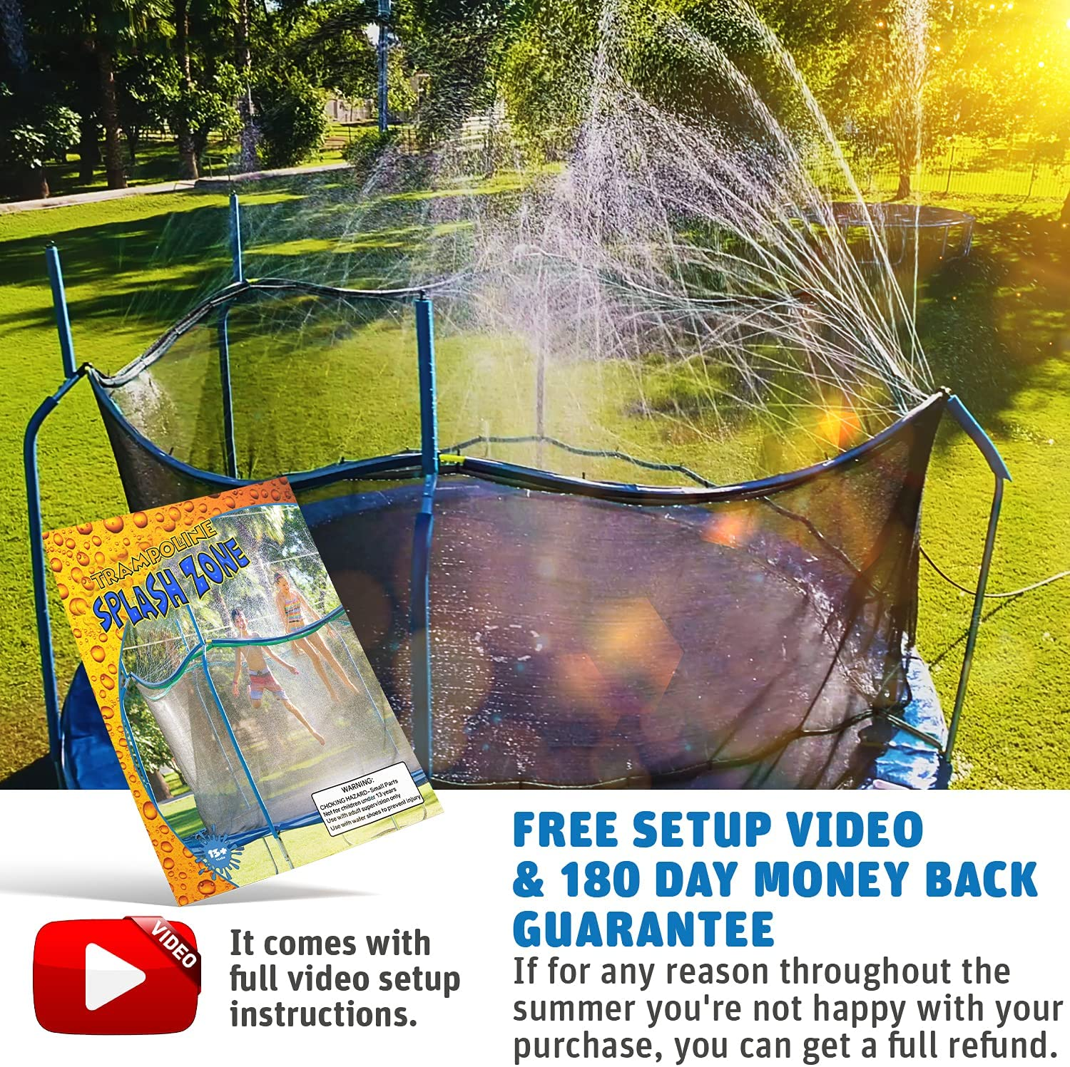 Waterpark Toys for Boys Girls and Adults Kids Fun Summer Outdoor Water Park Game Sprinkler Accessories Included Toy Attaches on Safety Net Pole ThrillZoo Trampoline WaterWhirl