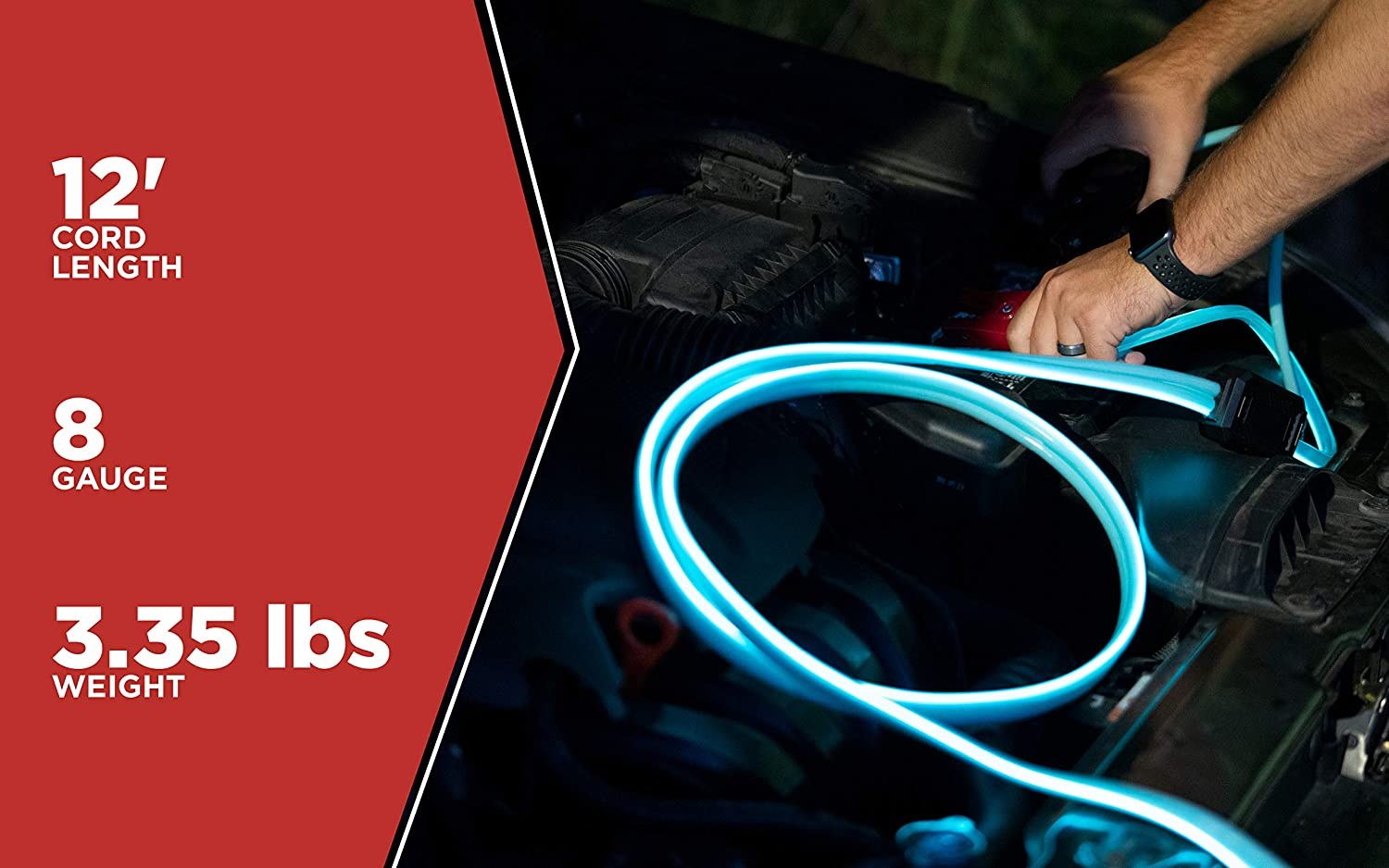 12-Foot 12 Booster Cables With Exclusive Road Glow Technology Road Power 84696812 8 Gauge