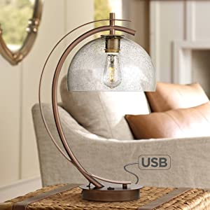 Calvin Modern Accent Table Lamp with USB Port Filament LED Bronze Metal Glass Dome Shade for Living Room Bedroom - Possini Euro Design