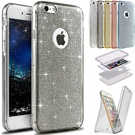 Funda iPhone 6S Plus,Funda iPhone 6 Plus,Brillantes Lentejuelas Estrella Brillo Transparente TPU Silicona 360°Full Body Fundas Skin Cover Carcasa ...