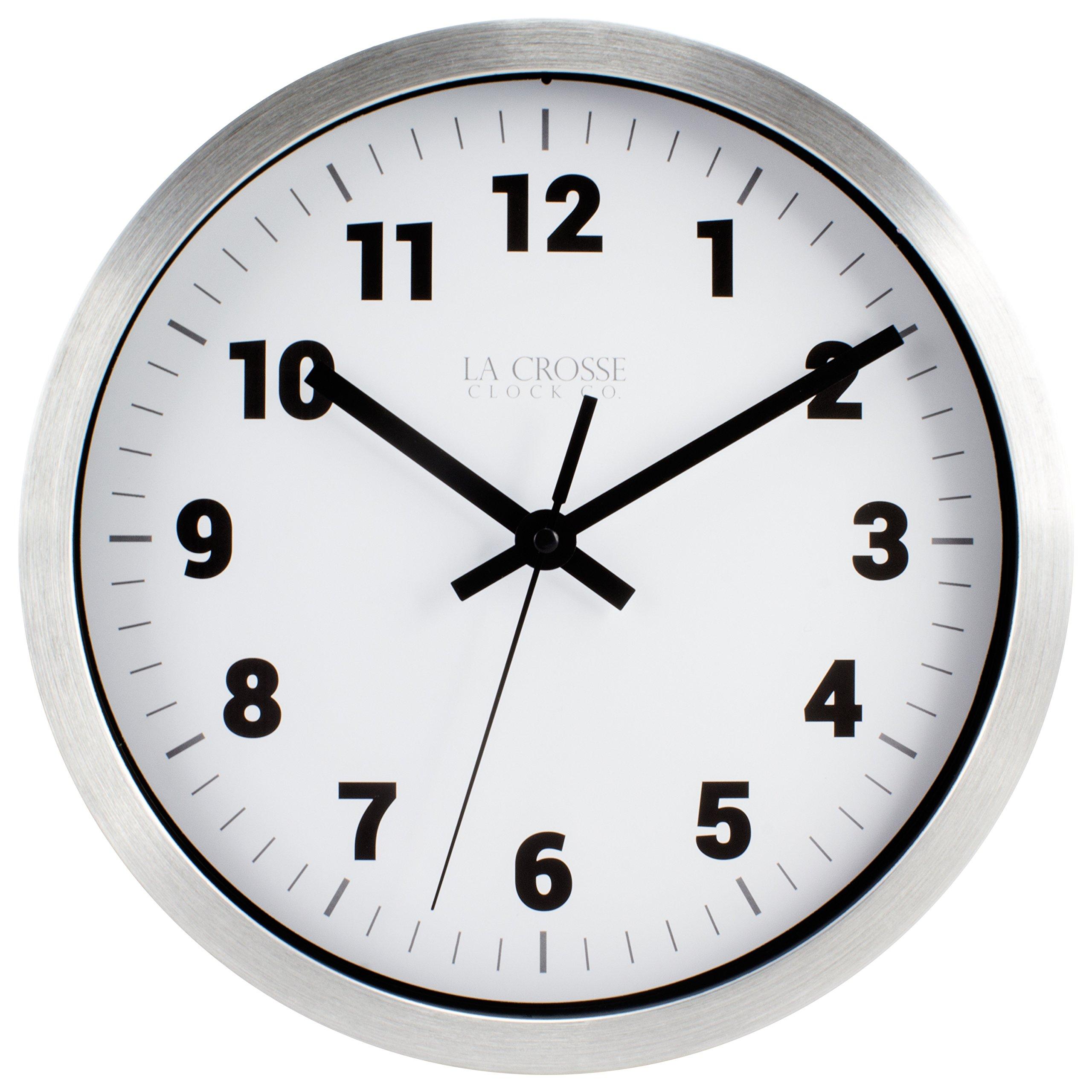 La Crosse Technology 404-2626 La Crosse Clock 10 in Silver Metal Analog Wall Clock with White Dial