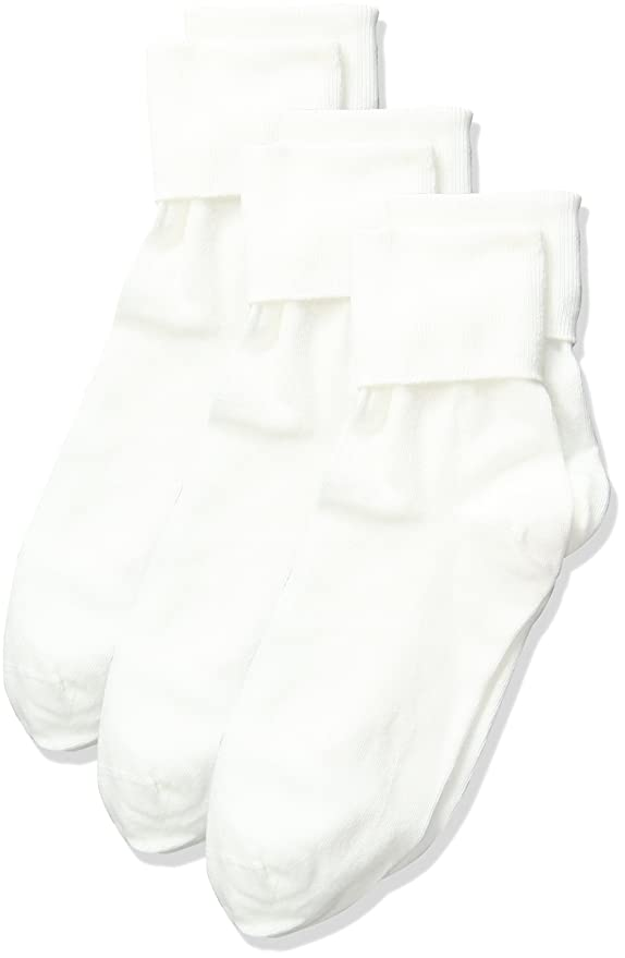 Vintage Style Socks- Knee High, Bobby, Anklet No Nonsense Womens Cotton Basic Cuff Sock 3-Pack $5.99 AT vintagedancer.com