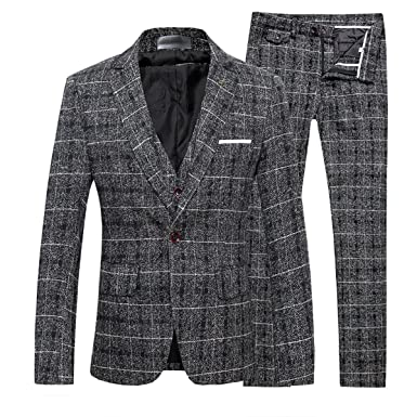 Cloudstyle Costume Homme Formel d affaire Smoking Blazer à Carreaux Un  Bouton cintré Slim fit c69896a8f0d