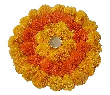 Buy anaya industries rangoli tlite artificial marigold flower mat on anaya industries rangoli tlite artificial marigold flower mat on canvas 30 cm x 6 cm mightylinksfo