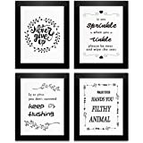 Bathroom Decor Wall Art Prints with Frames;Funny Bathroom Sign 8×10 inch set of 4 (Black and White) (A)