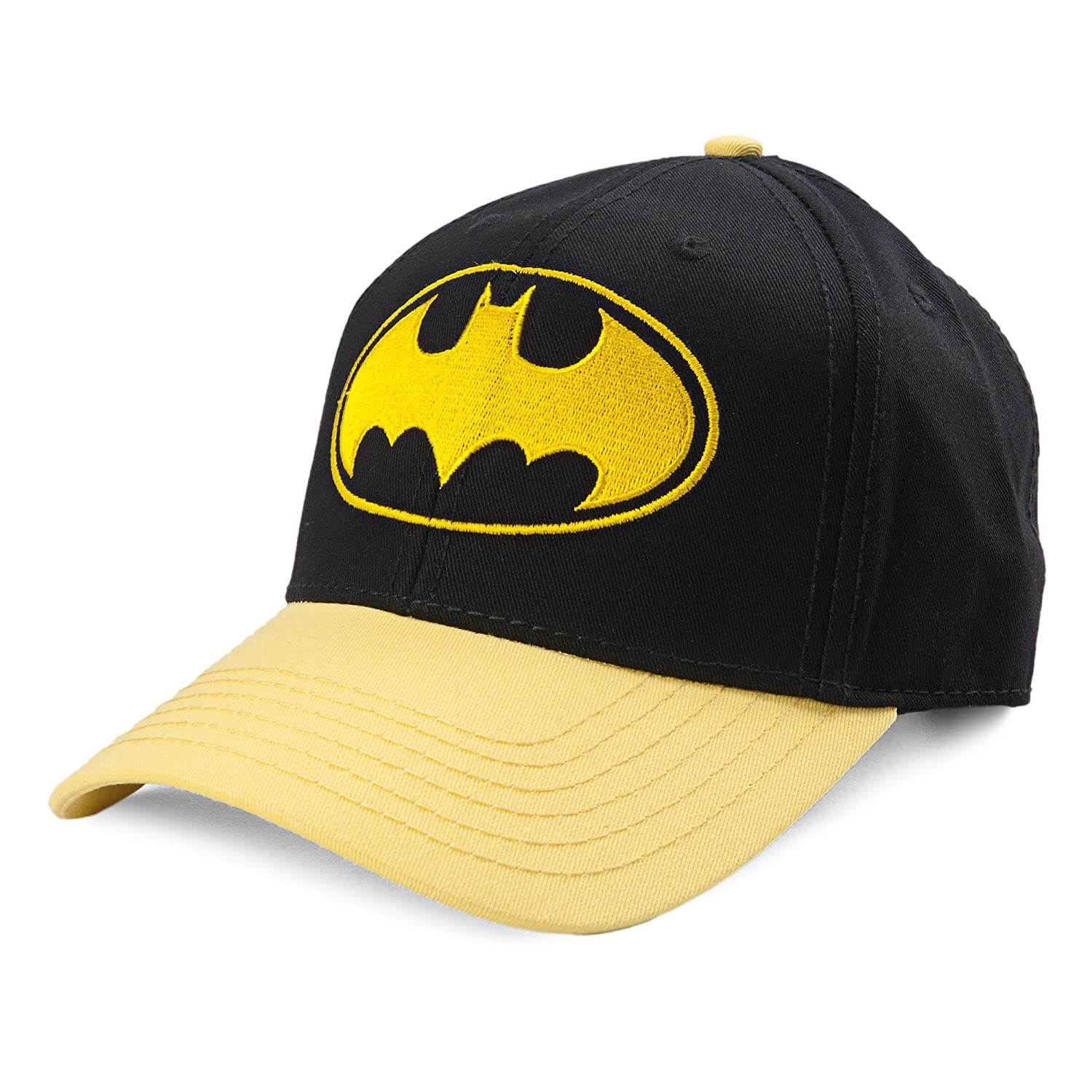 6171172c9 Amazon.com: DC Comics Batman Gold Bat Logo Curved Bill Snapback Baseball Cap:  Sports & Outdoors