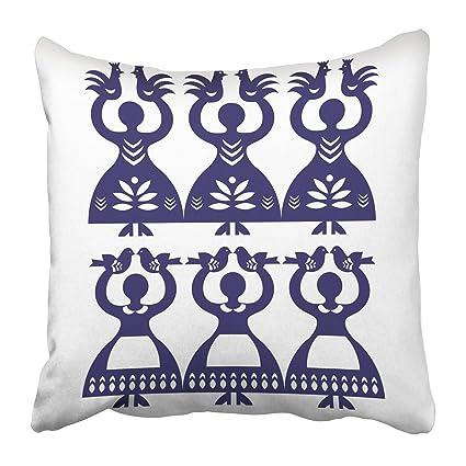 Emvency Decorative Throw Pillow Covers Cases Navy Polish Folk Pattern  Wycinanki Kolbielskie Kolbiel Papercuts Women Holding 53e118e372