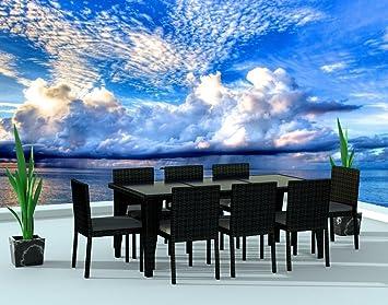 UrbanFurnishing.net   9 Piece Wicker Outdoor Patio Dining Set   Black  Wicker / Charcoal