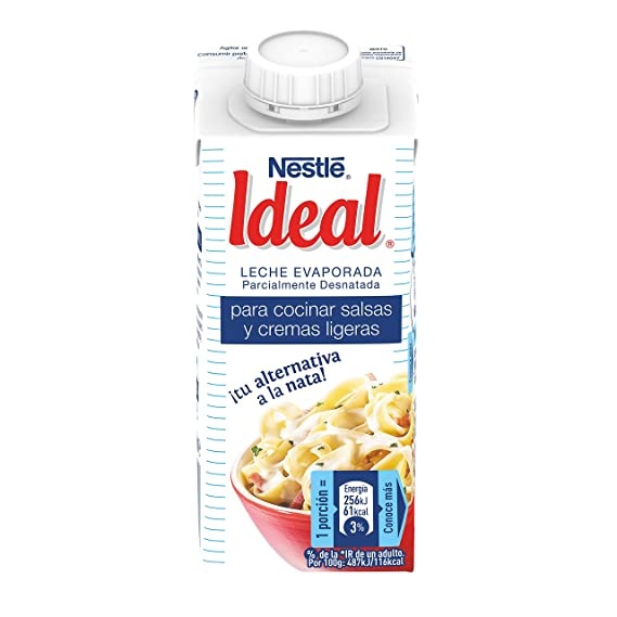 Nestlé IDEAL Leche Evaporada Semidesnatada - Caja de 15 x 200ml (210 gr)