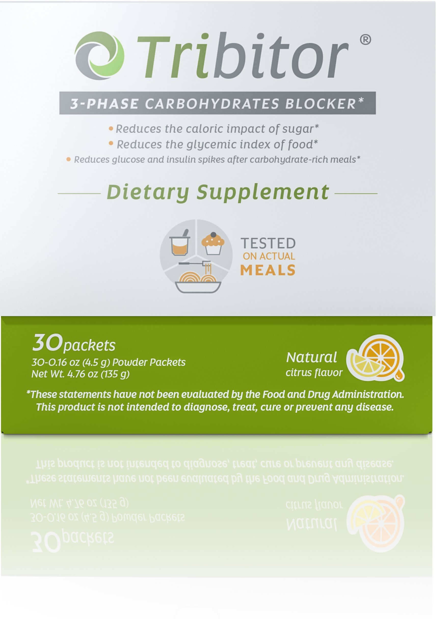 Tribitor 3-Phase Carb Blocker Supplement with White Kidney Bean Extract, White Mulberry Leaf Extract and Green Coffee Bean Extract by Adiuvo Investments Inc