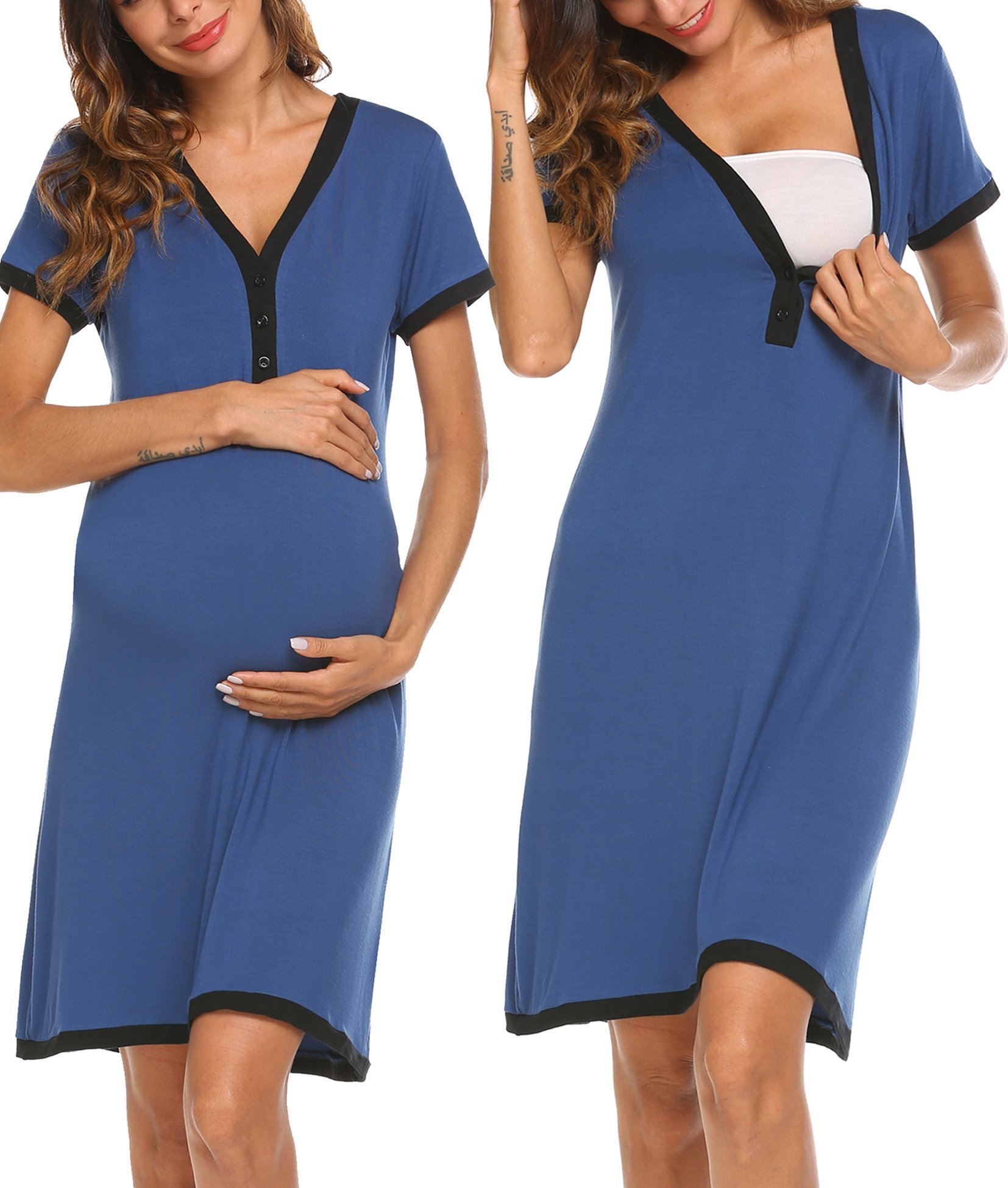 Ekouaer Women's Maternity V-Neck Short Sleeve Patchwork Nursing Breastfeeding Sleepshirts