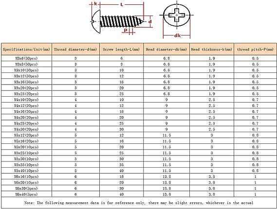 ORANXIN Croce Viti autofilettanti M3 M4 M5 M6 Metallo Acciaio inossidabile Fungo Testa tonda Chiodi fissaggio Viti auto-perforazione coda a punta Viti per legno