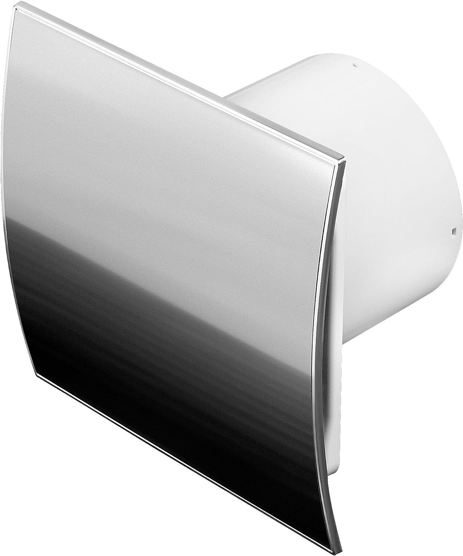 Ventilador de baño, acero inoxidable, con un diámetro de:100 mm. Con válvula de agua estancada WEI y sensor de humedad, temporizador de humidistato, 10 cm