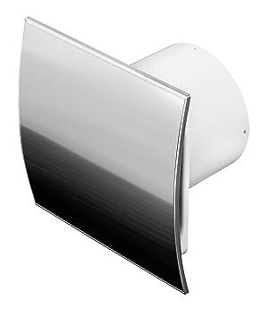 ventilador de baño, acero inoxidable, 100 mm de diámetro, con ... - Extractor Bano Valvula Antirretorno