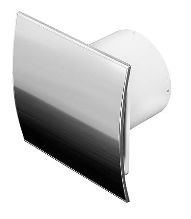 Edelstahl Badlüfter Ø 100 mm mit Rückstauklappe WEI und Feuchtigkeitssensor / Hygrostat mit Timer / Nachlaufegelung Lüfter Ve