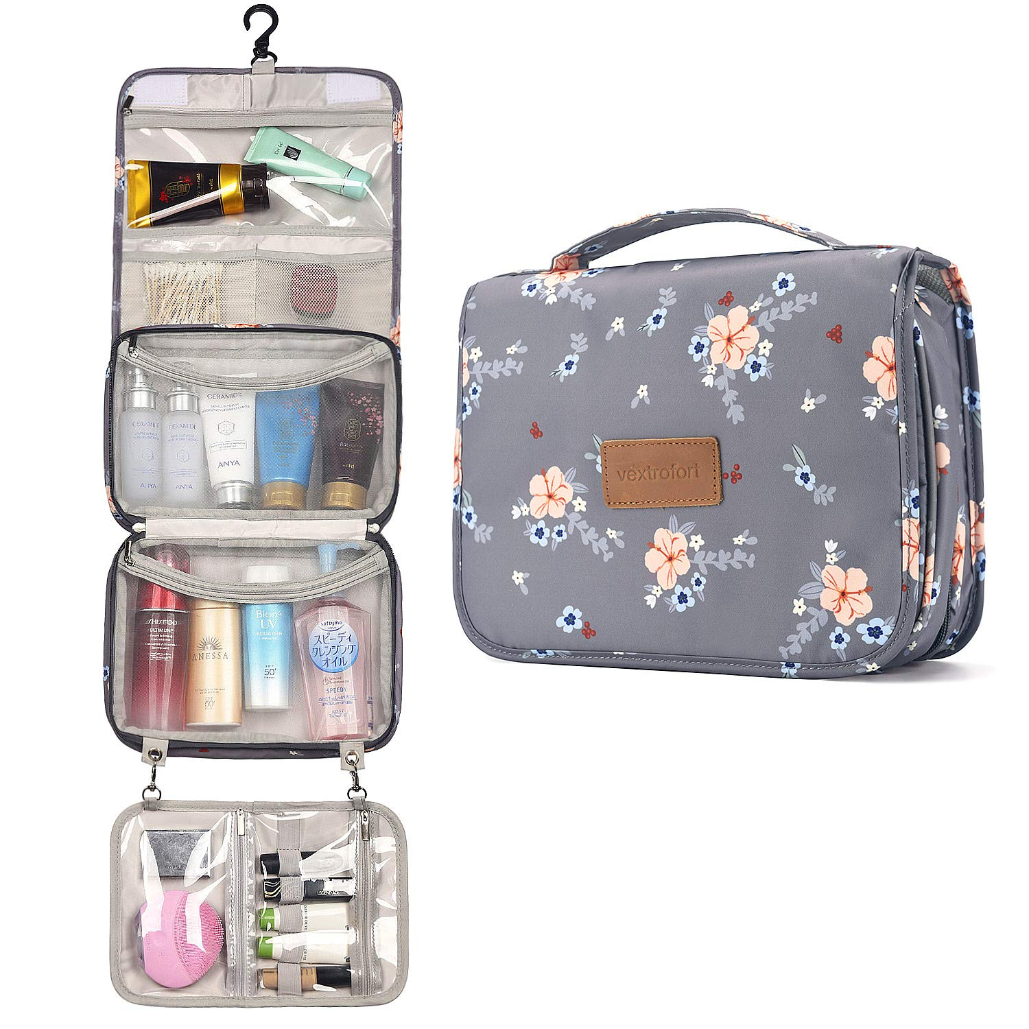 Toiletry Bag for Women, Large Hanging Travel Makeup Bag Water-resistant for Toiletries/Cosmetics/Brushes - Gray