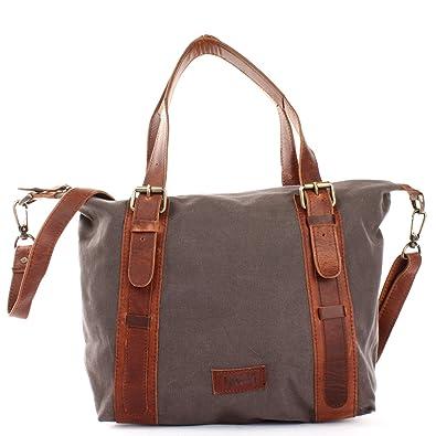 bca9f4a2ffb5d LECONI Schultertasche im Vintage-Look aus Canvas + Leder Henkeltasche für  Frauen Handtasche Retro-