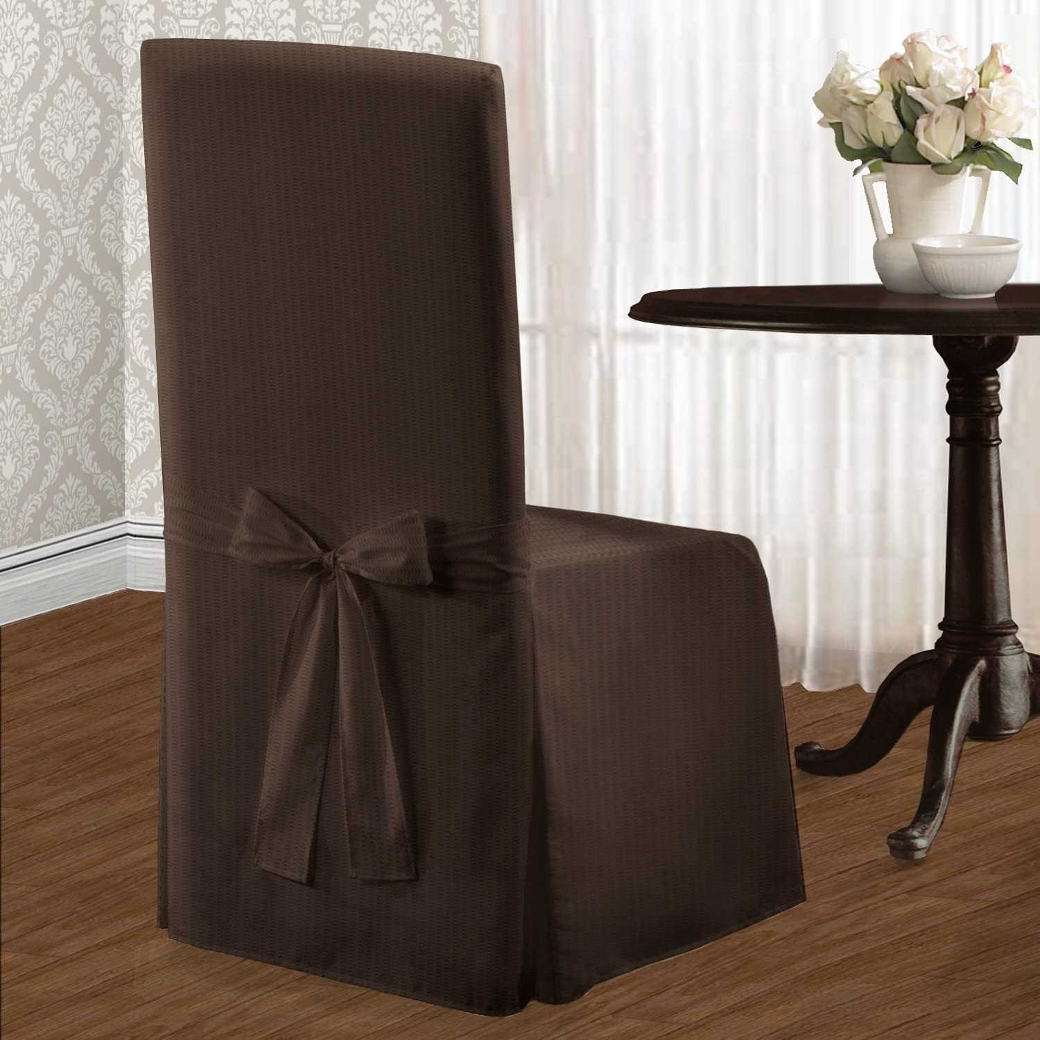 United Curtain Metro Dining Room Chair Cover, 19 by 18 by 39-Inch, Chocolate