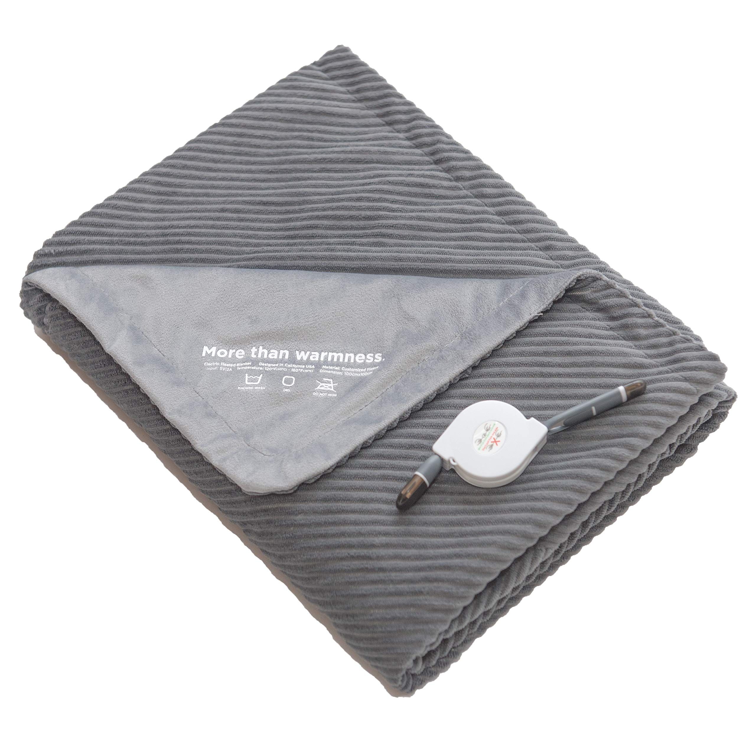 DAWNLAB Super Soft Portable USB Powered Heated Lap Blanket Throw, Suitable for Home, Office, Travel, Outdoor (Above 55°F Only) and Vehicle. Stylish, Safe and Easy to Care.