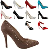 WOMENS LADIES LOW MID HIGH HEEL POINTED COURT SMART PARTY OFFICE WORK STILETTO SHOES PUMPS SIZE