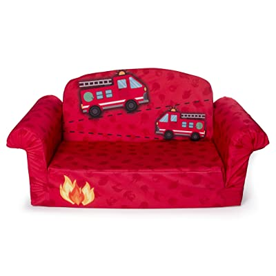 Marshmallow Furniture - Children's 2 in 1 Fire Truck Flip Open Foam Sofa ( Exclusive): Toys & Games