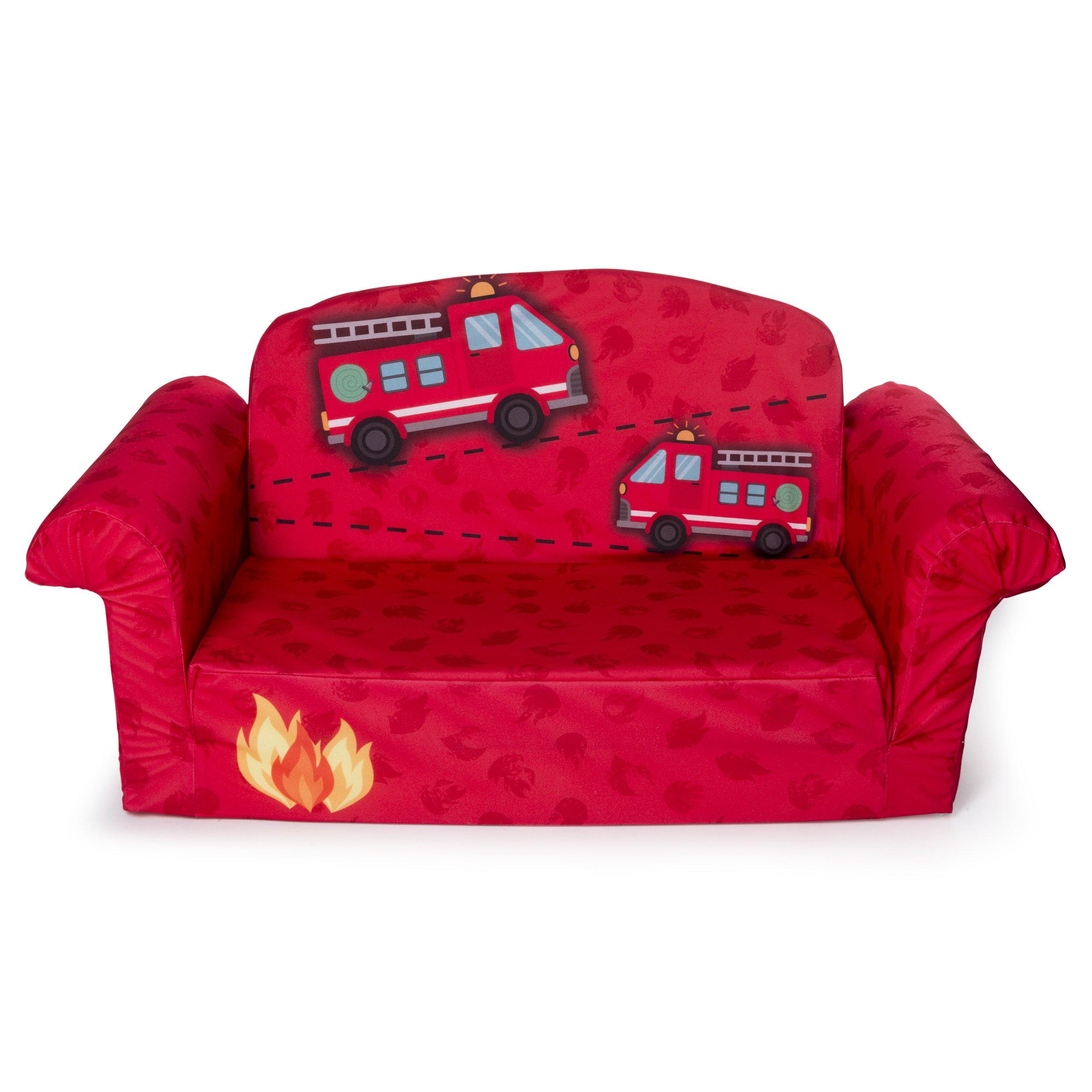 Marshmallow Furniture - Children's 2 in 1 Fire Truck Flip Open Foam Sofa (Amazon Exclusive) by Marshmallow Furniture