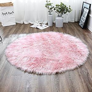 LEEVAN Plush Sheepskin Style Throw Rug Faux Fur Elegant Chic Style Cozy Shaggy Round Rug Floor Mat Area Rugs Home Decorator Super Soft Carpets Kids Play Rug, Pink 3 ft Diameter