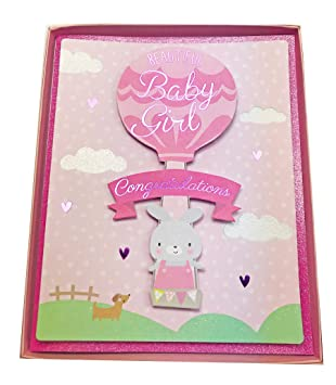 new baby girl parents boxed greeting card congratulations newborn daughter pink