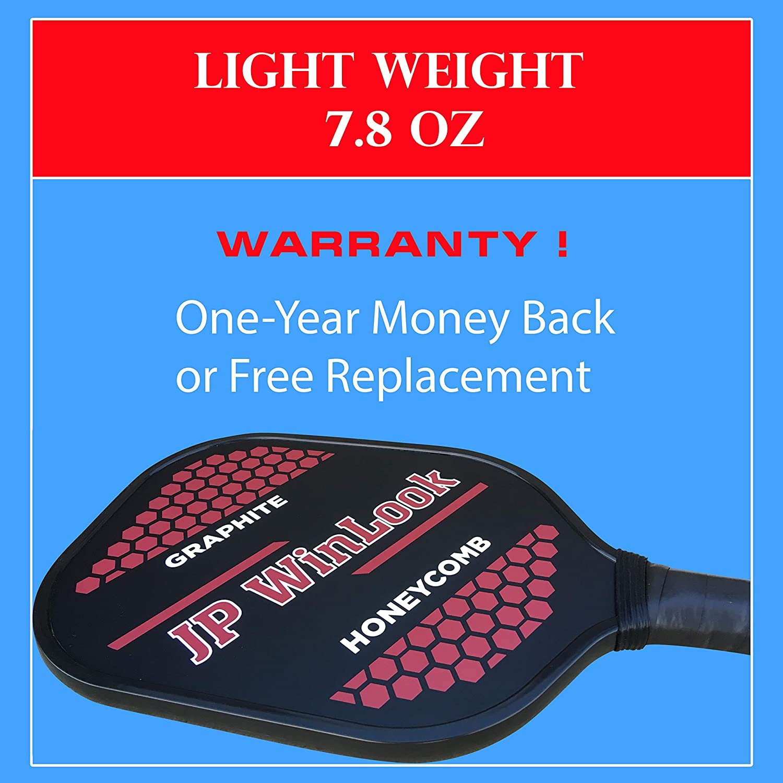 JP WinLook Pickleball Paddle Set - 2 Premium Graphite Rackets Honeycomb Composite Core 3 Balls, Ultra Cushion Grip, Portable Racquet Cover Case Bag ...