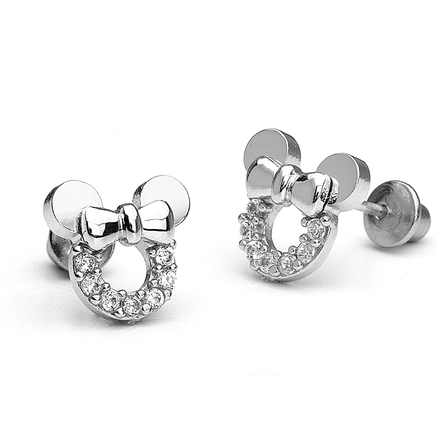 Sterling Silver Rhodium Plated Mouse Screwback Girls Earrings