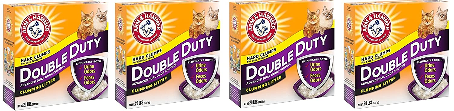 Arm Hammer hVsCIT Double Duty Clumping Litter 20 Pounds Pack of 4