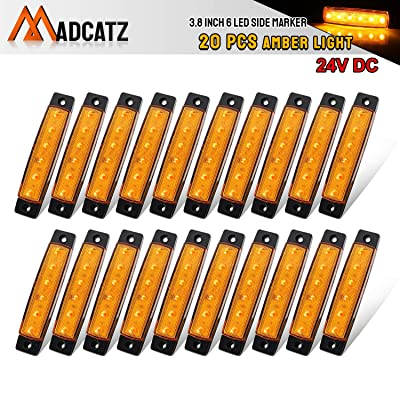 Meerkatt (Pack of 20) 3.8 Inch Amber 6 LED Side Indicators Marker Lights Sealed Mini Clearance Lamp Decoration Bus Pickup Sedan Truck Trailer Marine Turn Signal Tail Rear Fender Waterproof 24v DC TK24: Automotive