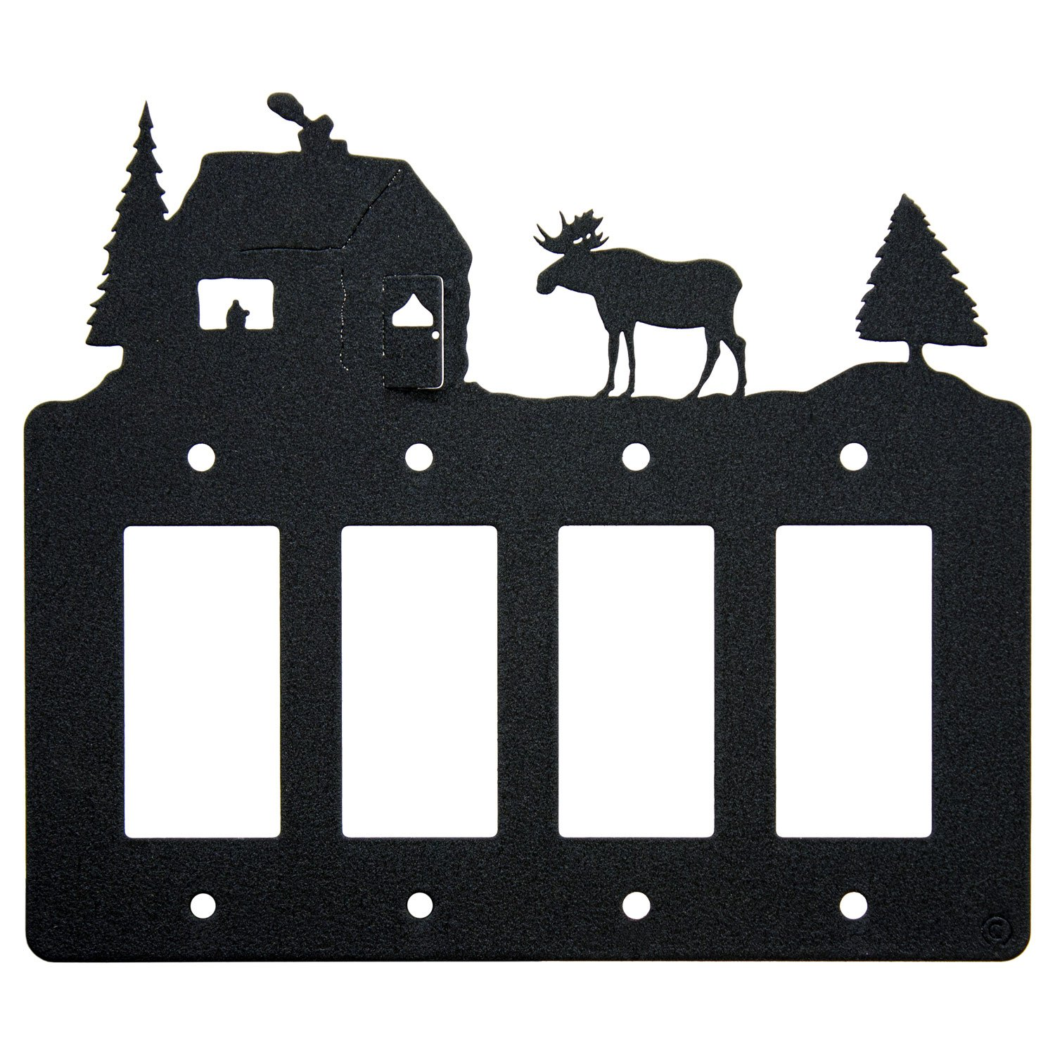 Moose & Cabin Quadruple 4-Gang Rocker Light Switch-GFCI Power Outlet Plate-Cover