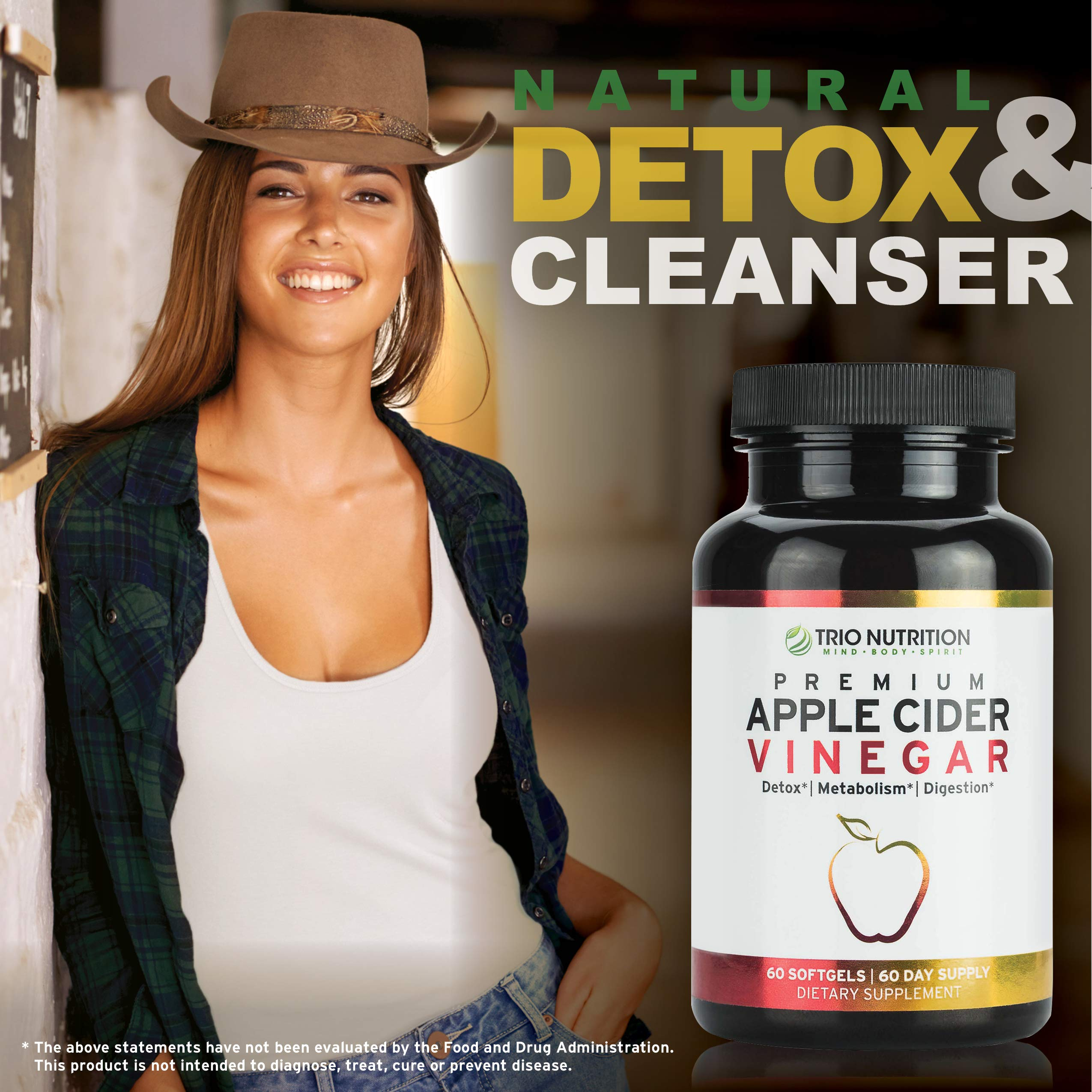 Apple Cider Vinegar Capsules Softgels with Cayenne, Lemon, Honey, 520mg Detox Cleanse Drink-in-a-Pill * by TRIO NUTRITION MIND BODY SPIRIT (Image #7)