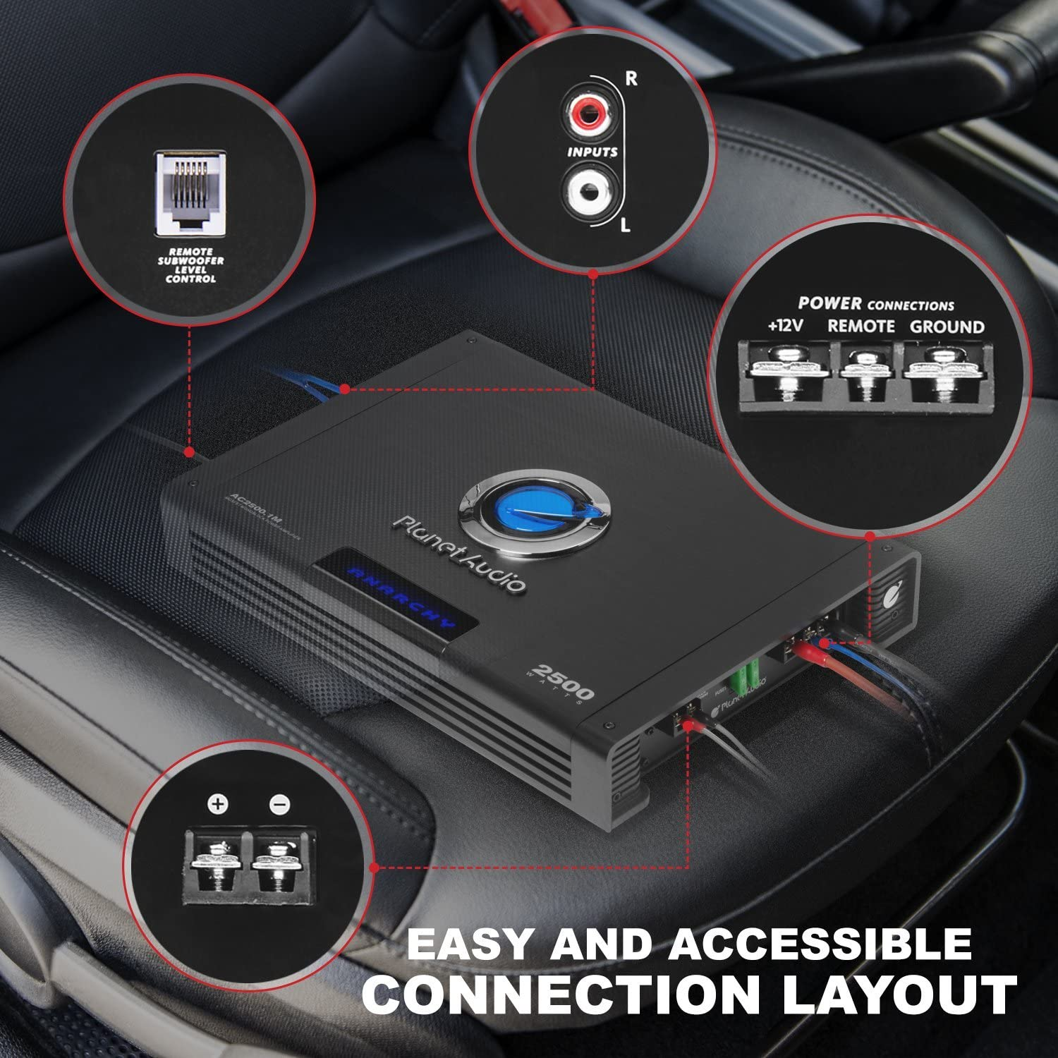 Mosfet Power Supply Remote Subwoofer Control 2//4 Ohm Stable Class A//B 2500 Watts Max Power Planet Audio AC2500.1M Monoblock Car Amplifier