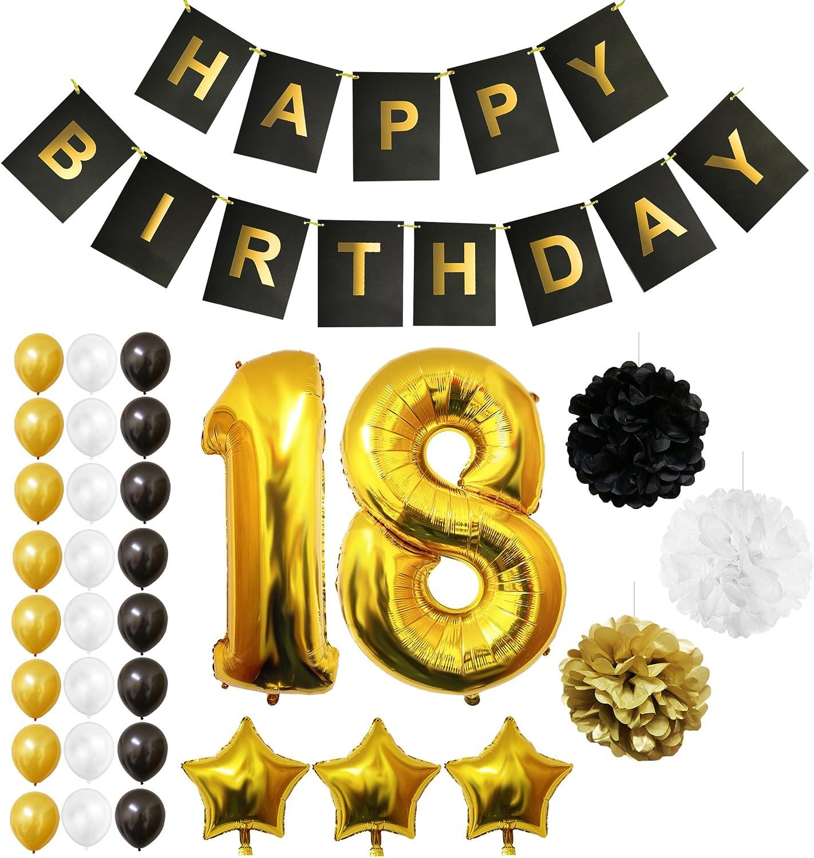 BELLE VOUS Globos Cumpleaños Happy Birthday, Suministros y Decoración Globo Grande de Aluminio - Decoración Globos De Látex Dorado, Blanco y Negro - Apto para Todos los Adultos (Age 18)