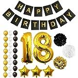Palloncini, Accessori & Decorazioni Festa di Compleanno Set - Grande Palloncino in Foil Decorazioni Palloncini in Lattice Oro, Bianco & Nero - Decorazione Adatta per Tutti gli Adulti (Age 18)