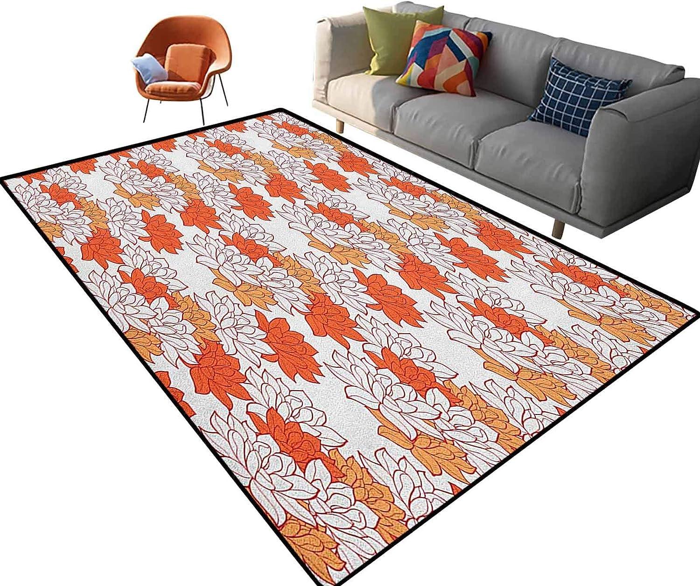 Orange Bedroom Rug Super Soft Carpet Blossoming Hand Drawn Lotus Leaves Garden Flowers Botanical Nature Theme Outdoor Rug for Kitchen/Dinning Room Doormat 6'x 9'