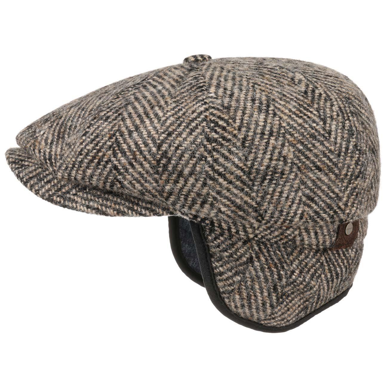 cc62aab8135 Stetson Hatteras Flat Cap with Earflaps Ear Flaps Flat Cap (62 cm - Beige)   Amazon.co.uk  Clothing