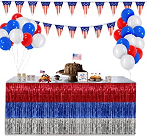 4th of July Party Decoration Balloons Banner Table Skirt Patriotic Party Table Skirt for Red Blue White Birthday Decor Independence Day Memorial Dey Forth of July