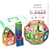 64-Piece Set of Block Building Magnet Tiles with Organized Storage Box - Clear Kids Magnetic Building Tiles In Triangle, Square Shapes For Enhancing Children's Creativity and Logic, Multiple Colors