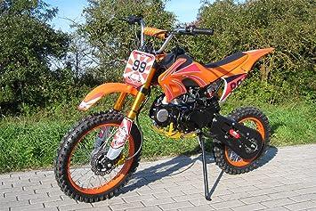 Moto cross dirt bike 125 cc naranja para niños y adolescentes: Amazon.es: Coche y moto
