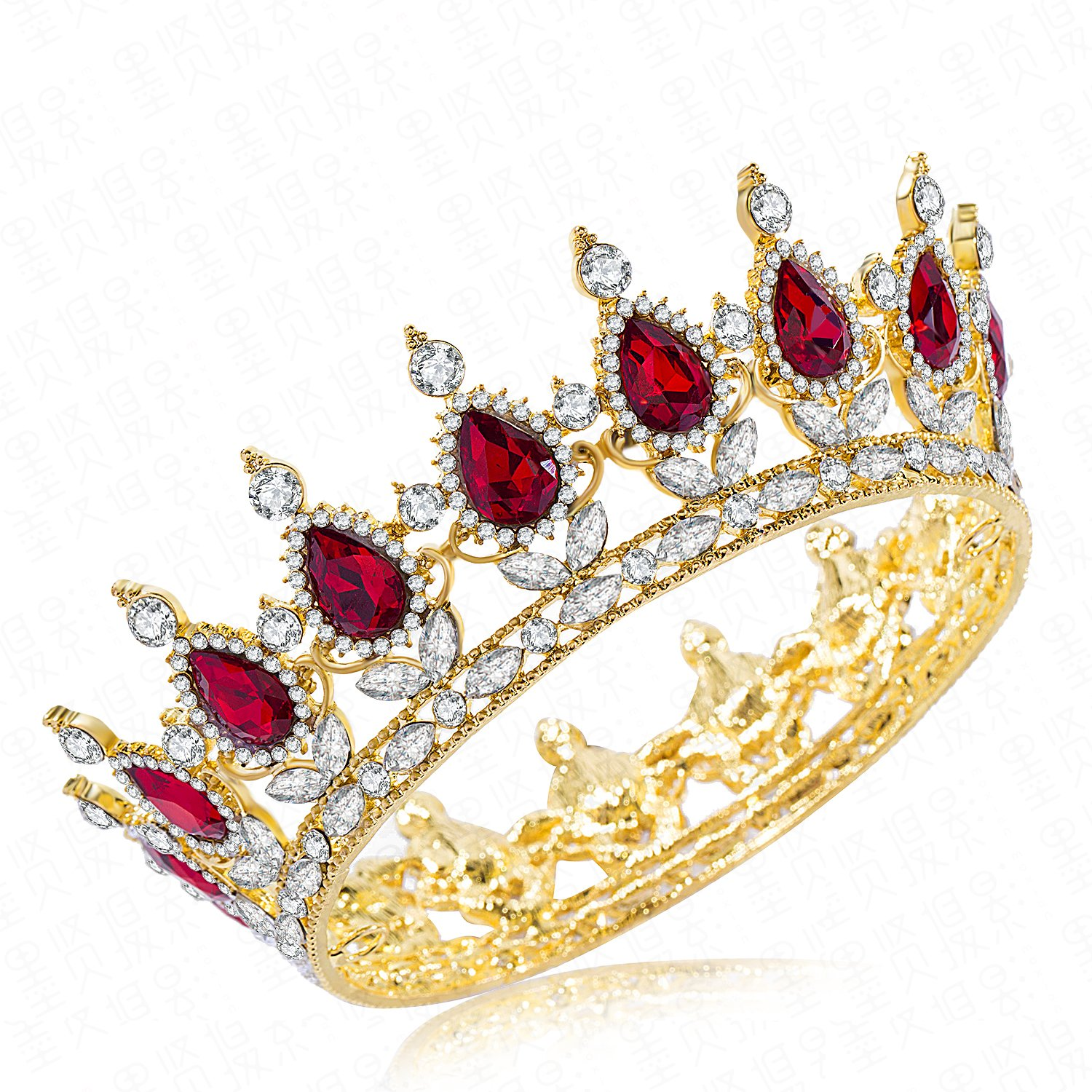 CamingHG Rhinestone Cake Topper Crown Fancy Party Cake Decoration Princess and Prince Headpiece (Gold-red)