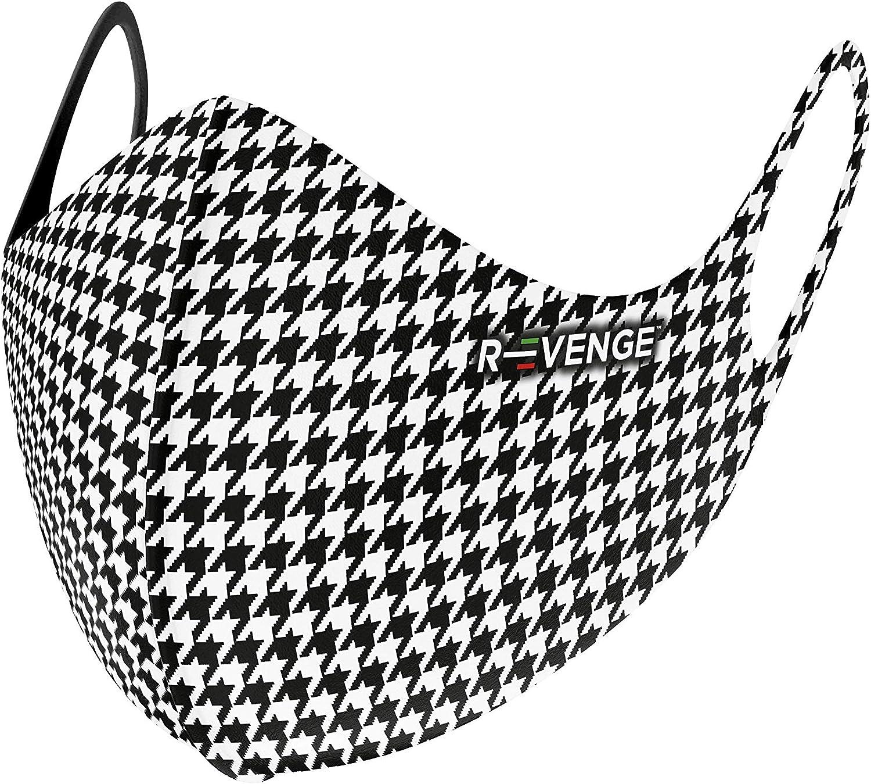 Modello Superior Pied de Poule Donna Trattamento Antibatterico Protezione Naso e Bocca,100/% Made in Italy R-evenge Fascia Protettiva Lavabile e Riutilizzabile Antimicrobico e Idrorepellente