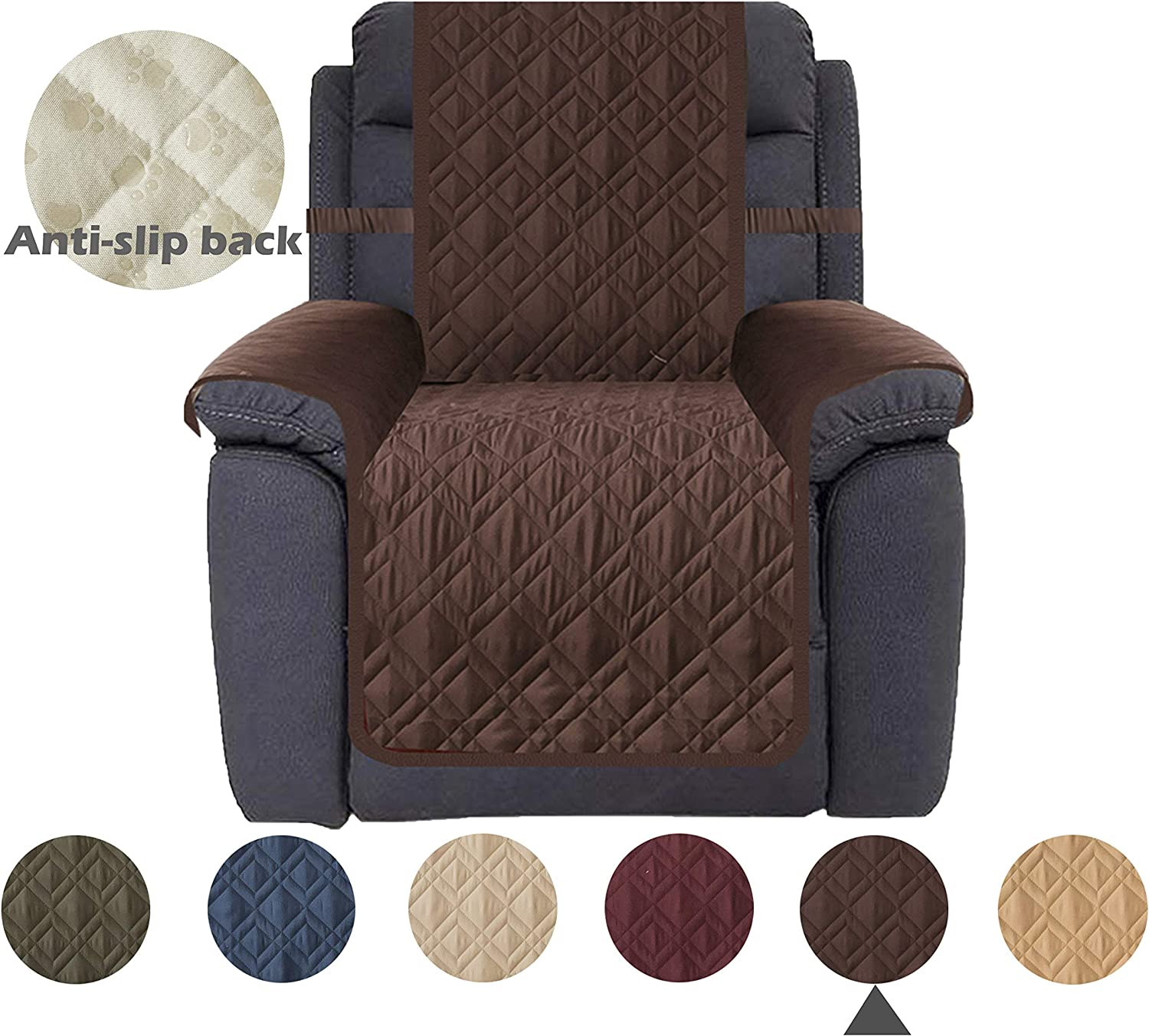 Ameritex Waterproof Nonslip Recliner Cover Stay in Place, Dog Chair Cover Furniture Protector, Ideal Recliner Slipcovers for Pets and Kids (30'', Chocolate)