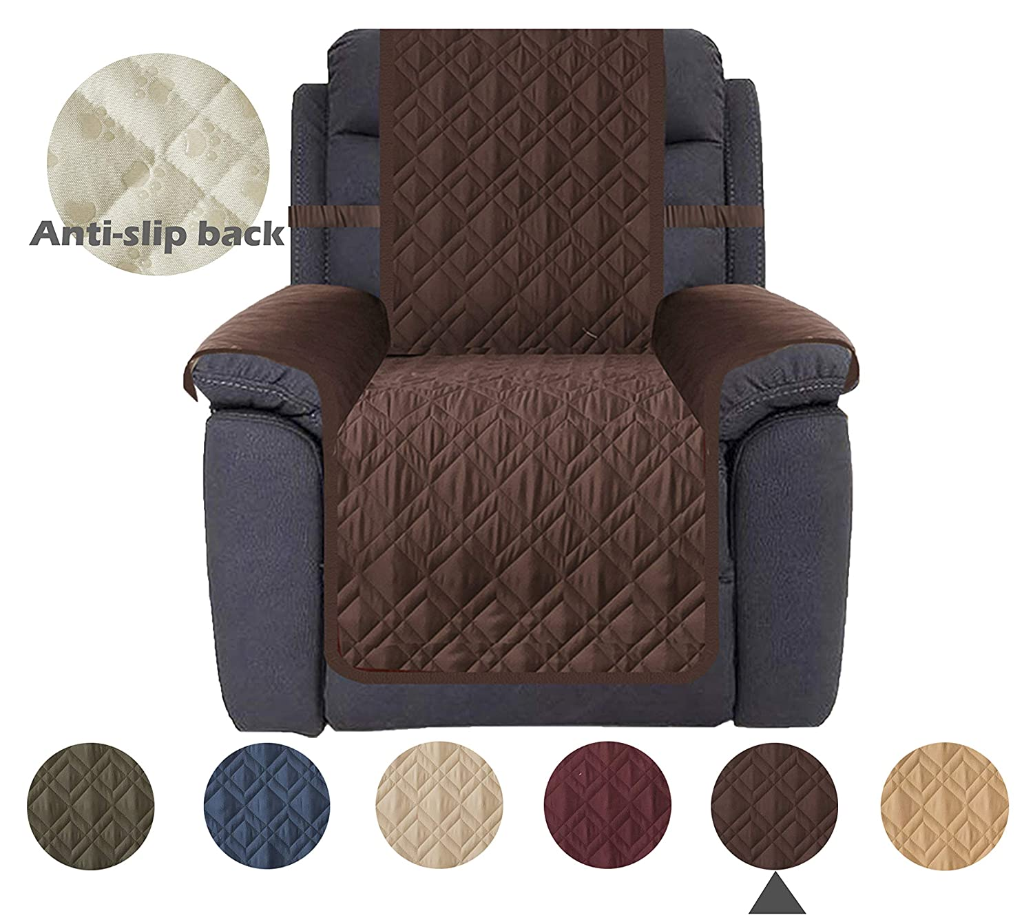 Astounding Ameritex Waterproof Nonslip Recliner Cover Stay In Place Dog Couch Chair Cover Furniture Protector Ideal Loveseat Slipcovers For Pets And Kids Customarchery Wood Chair Design Ideas Customarcherynet