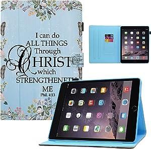 iPad 9.7 2018 2017/iPad Air 2/iPad Air Case,Bible Verse Philippians 4:13 Flower Design Card Slot PU Leather Soft TPU Protective Case with Pen Holder Auto Wake Sleep for iPad 6th/5th Gen,iPad Air 1/2