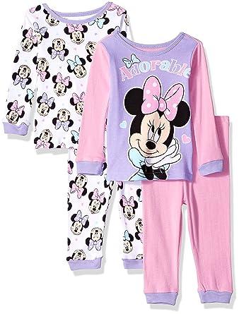 92db256abda5 Amazon.com  Disney Baby Girls  Minnie Mouse 4-Piece Cotton Pajama ...
