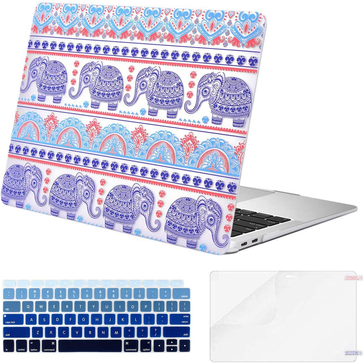MOSISO MacBook Air 13 inch Case 2020 2019 2018 Release A2179 A1932 Retina Display, Plastic Pattern Hard Shell & Keyboard Cover & Screen Protector Only Compatible with MacBook Air 13, Bohemian Elephant